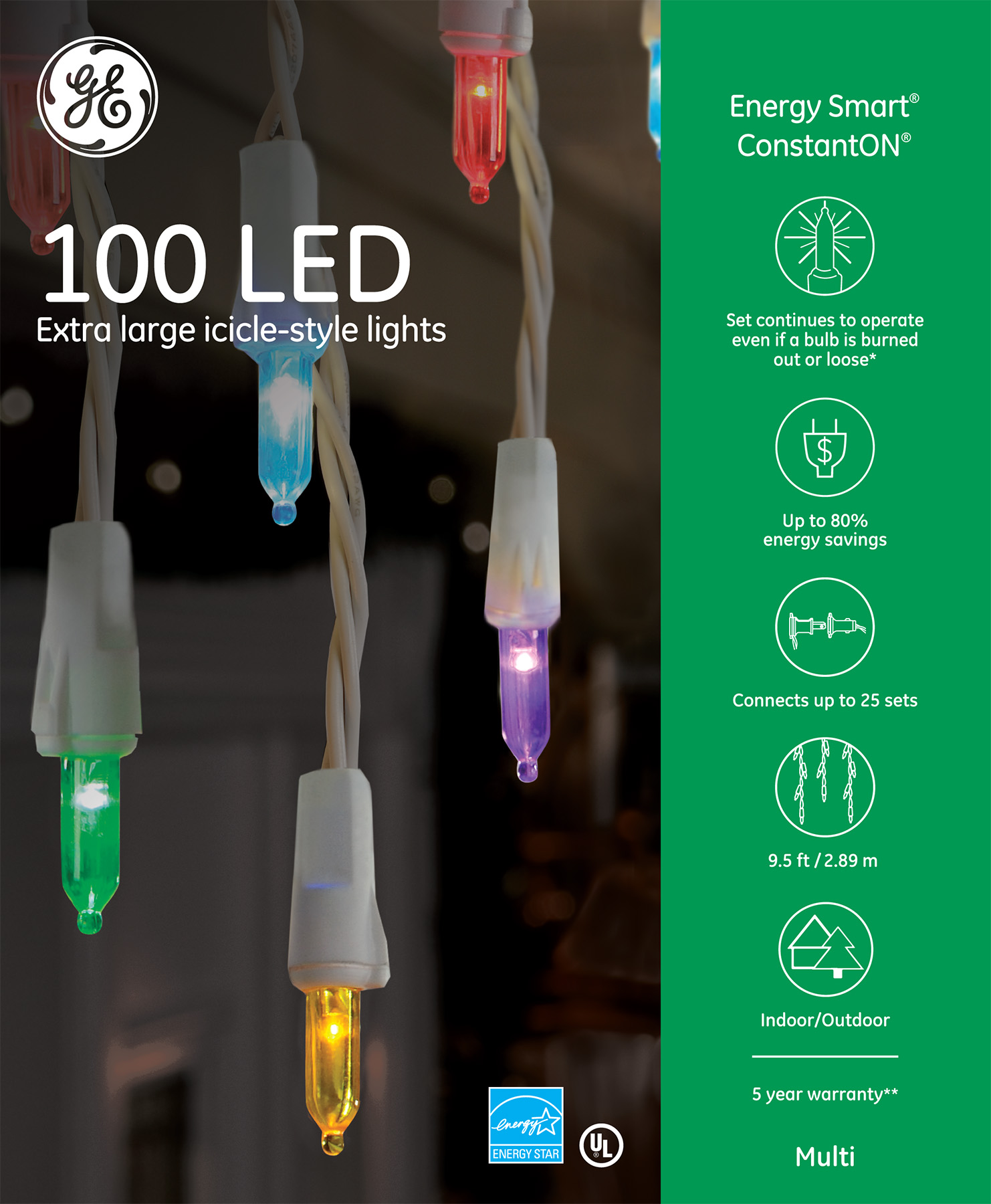 98855 - GE Energy Smart® LED Extra Large Icicle-Style Lights