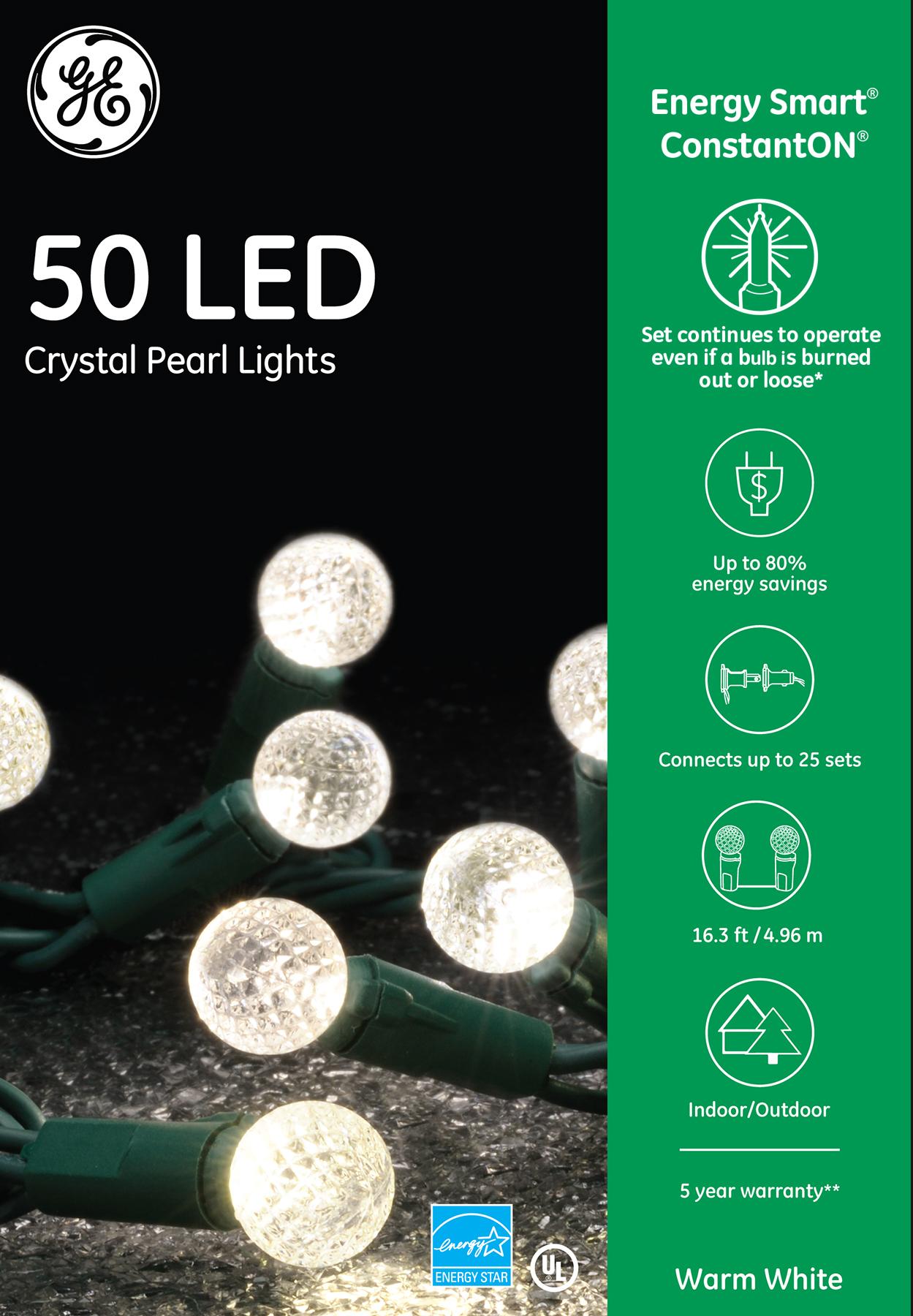 97326 Ge Energy Smart 174 Led Crystal Pearl Lights 50ct