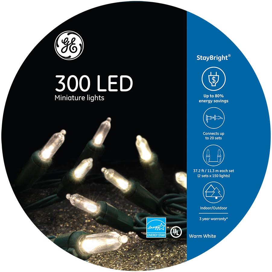 91096 Ge Staybright 174 Led Miniature Lights 300ct Warm