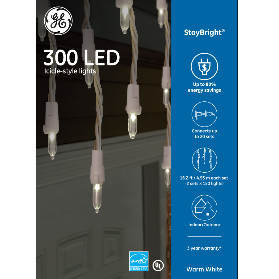 91086 Ge Staybright 174 Led Icicle Style Lights 300ct