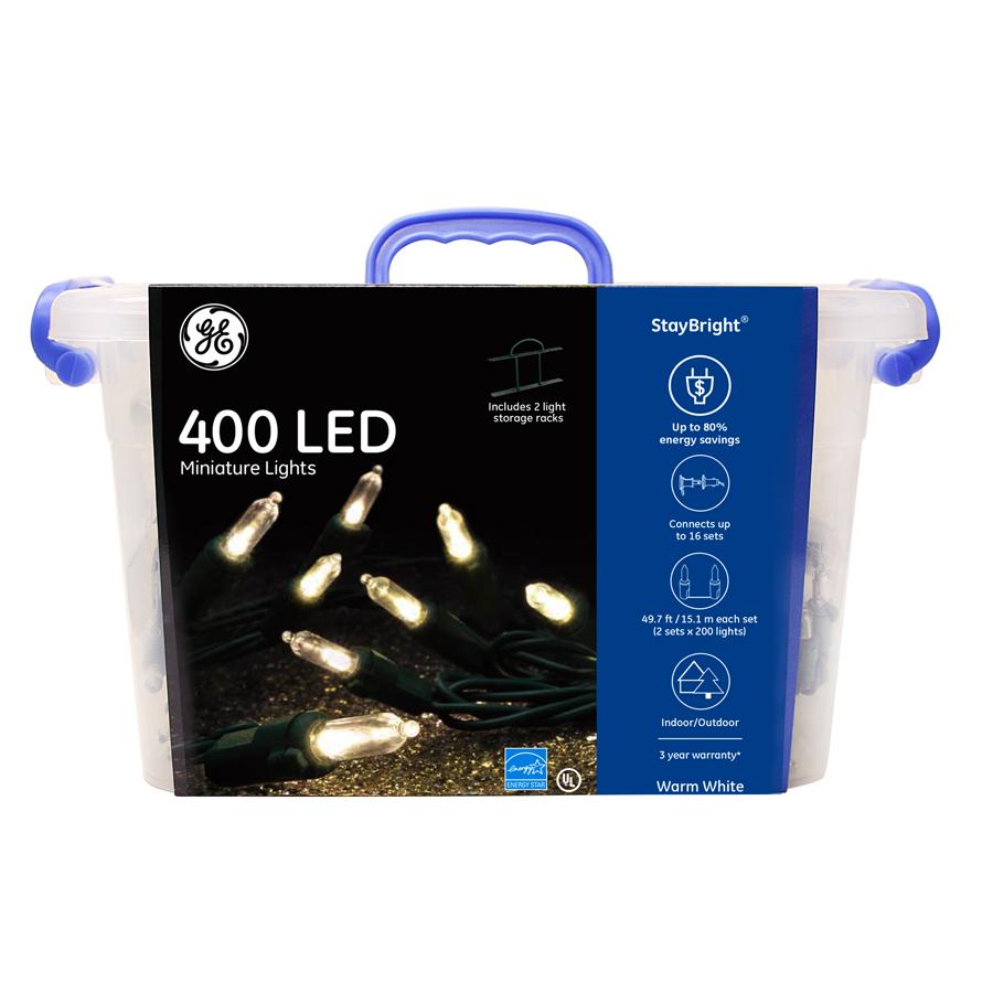 91056 Ge Staybright 174 Led Miniature Lights 400ct Warm