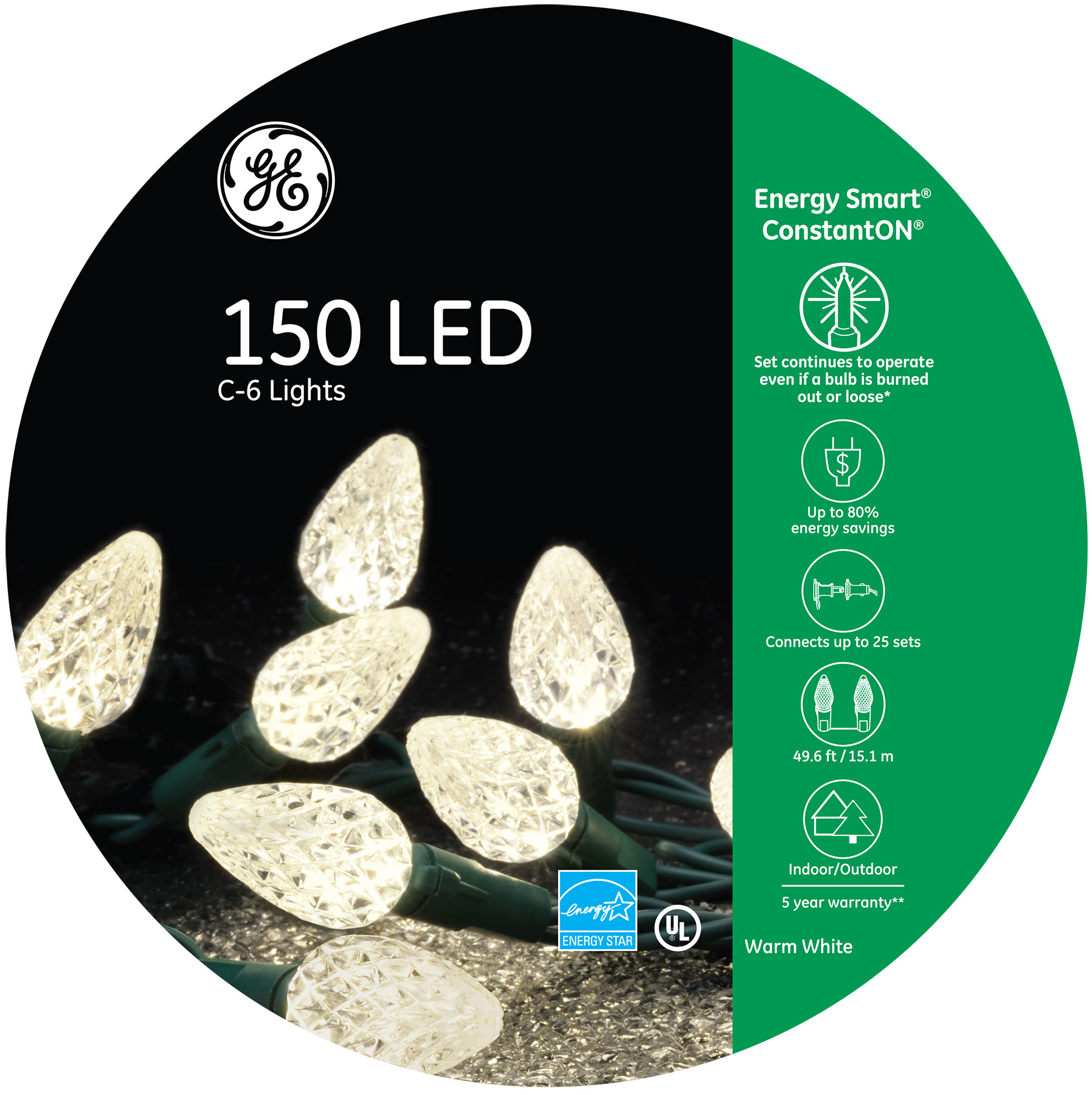 97936 Ge Energy Smart 174 Led C 6 Lights 150ct Warm White