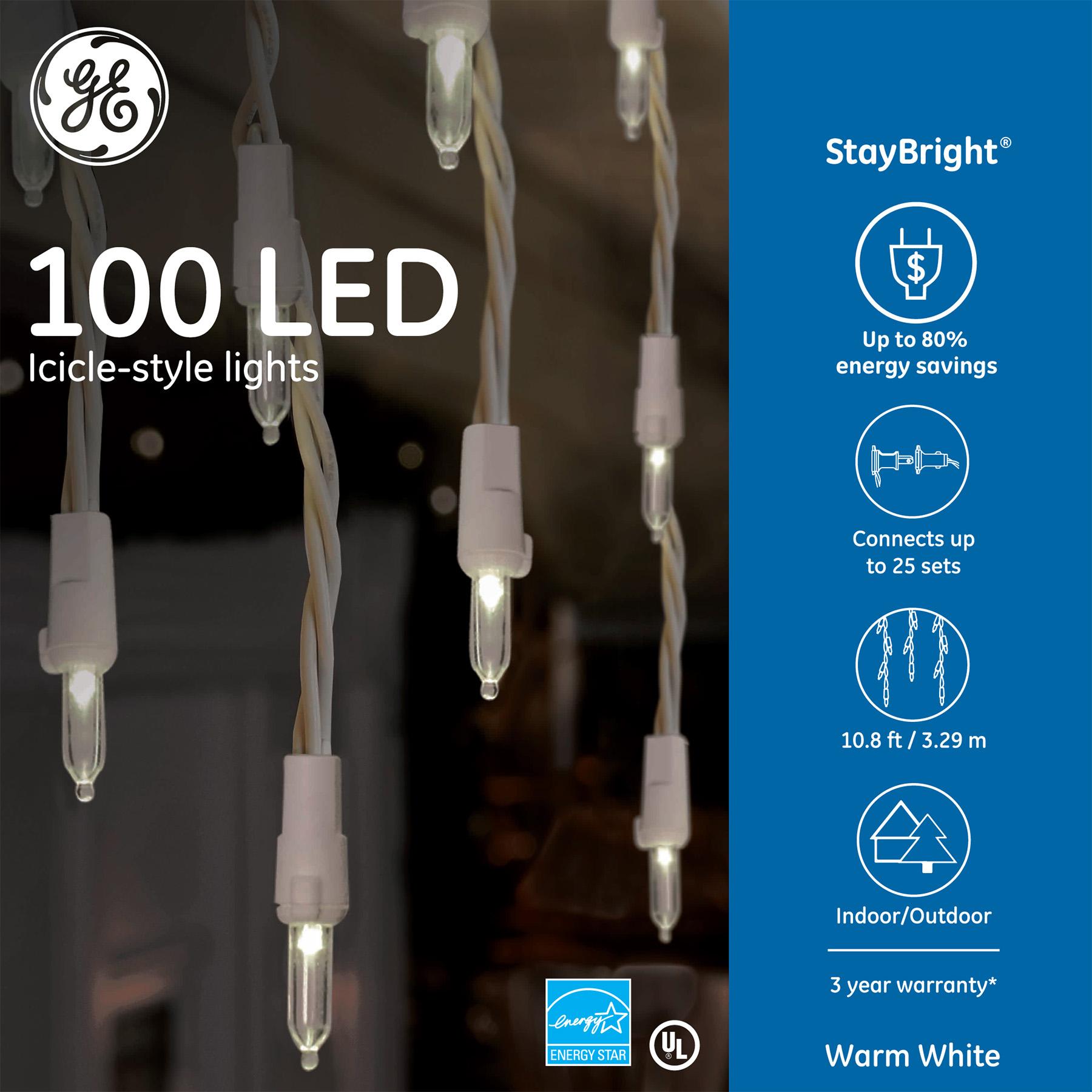 90866 - GE StayBright® LED Icicle-Style Lights 100ct Warm White & 90866 - GE StayBright® LED Icicle-Style Lights 100ct Warm White ...