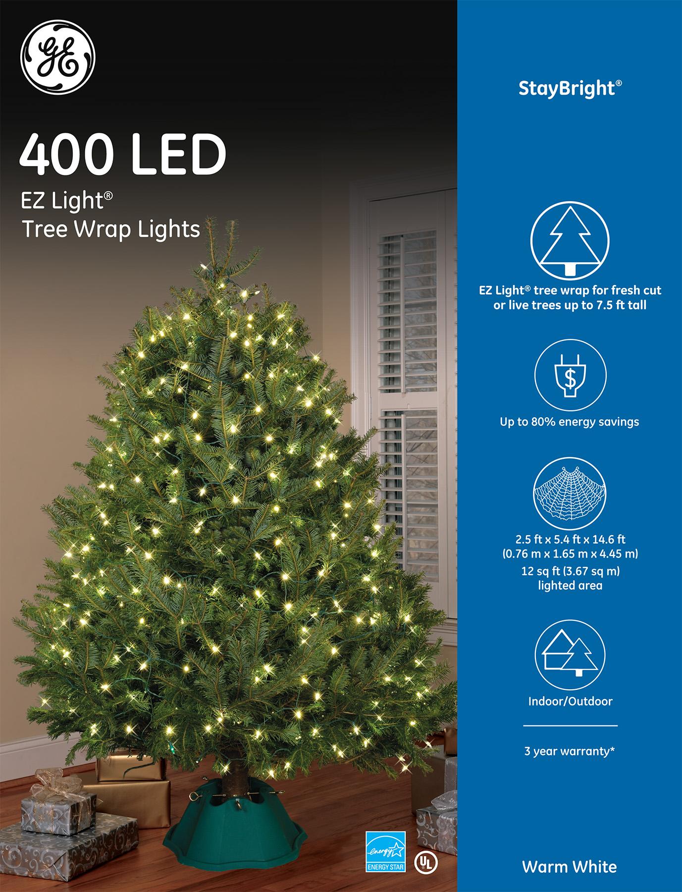 Ge Christmas Tree Lights.91076 Ge Staybright Led Ez Light Tree Wrap Lights 400ct
