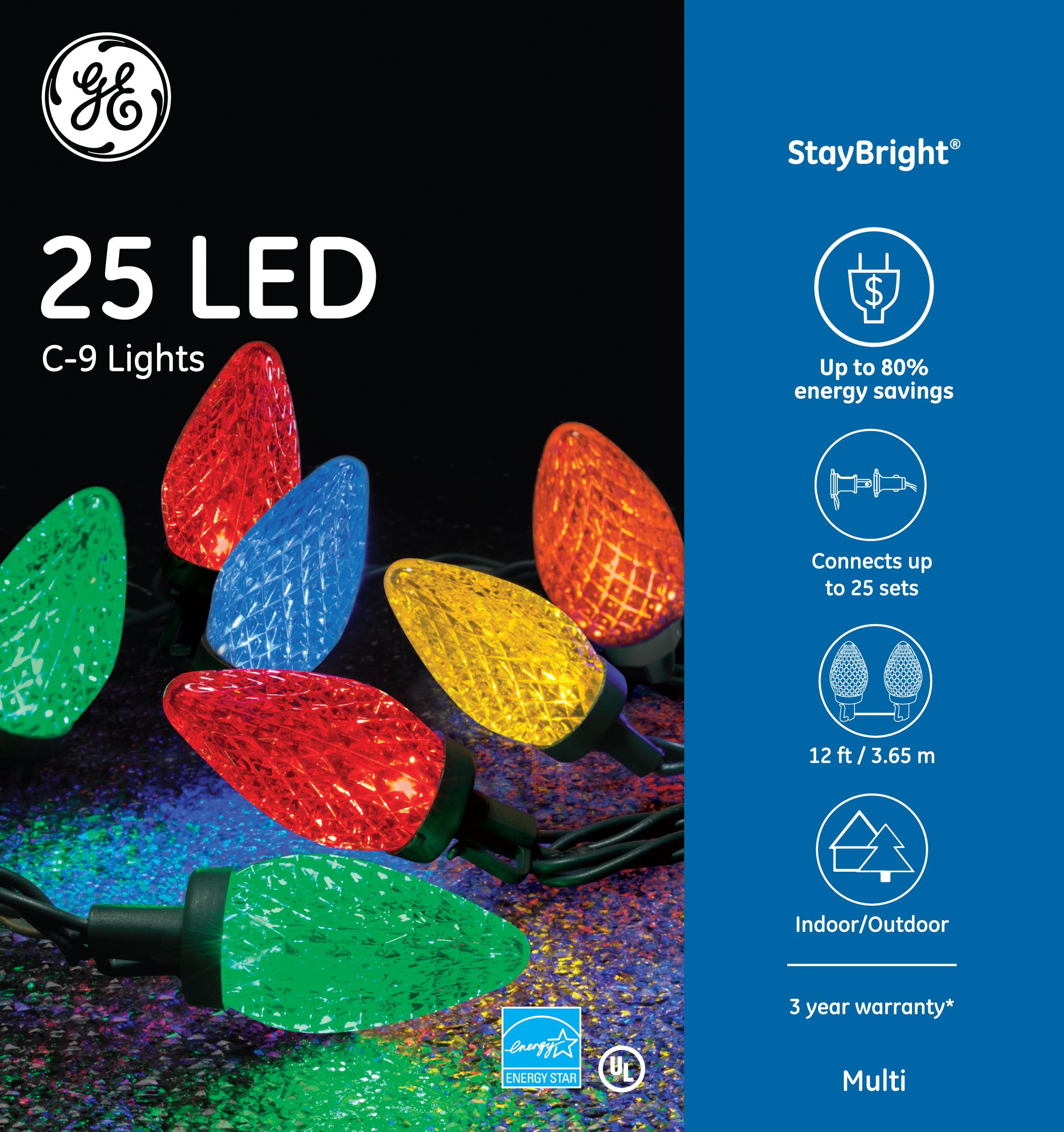 90905 Ge Staybright 174 Led C 9 Lights 25ct Multi Ge