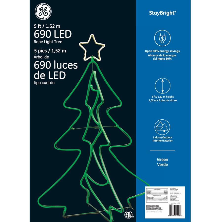 82008 Ge Staybright 174 Led Rope Light Tree 5 Ft 690ct