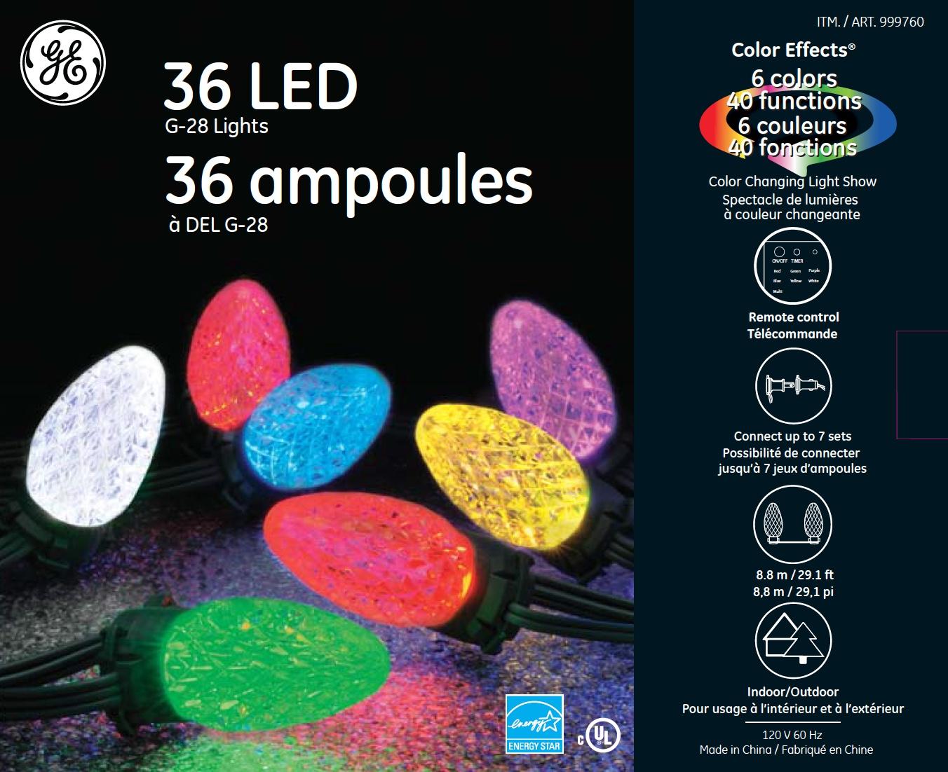 00106 Ge Color Effects 174 Led G 28 Lights 36ct Rgb Ge