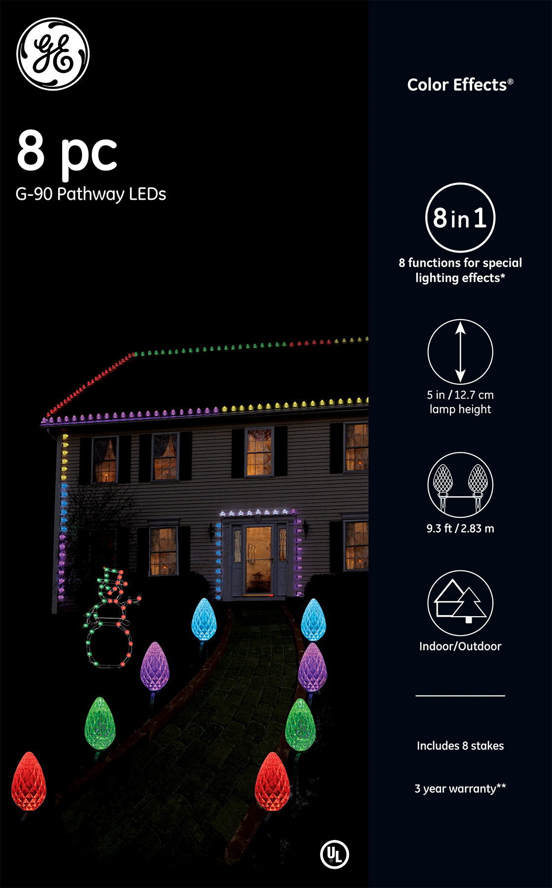 72210 - GE Color Effects® LED G-90 Pathway LEDs, 8ct, RGB – GE