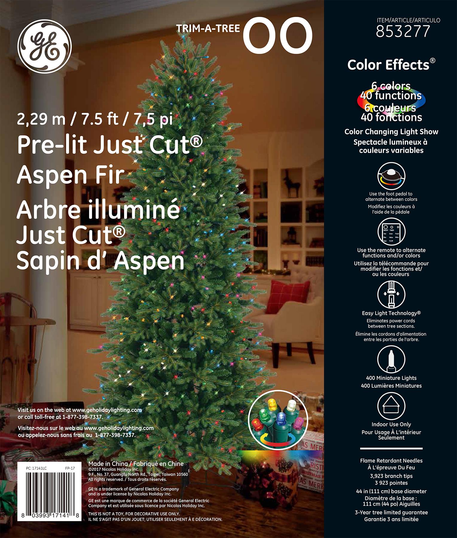 Tech Lighting Aspen 36: GE Just Cut® Aspen Fir, 7.5 Ft., Color Effects