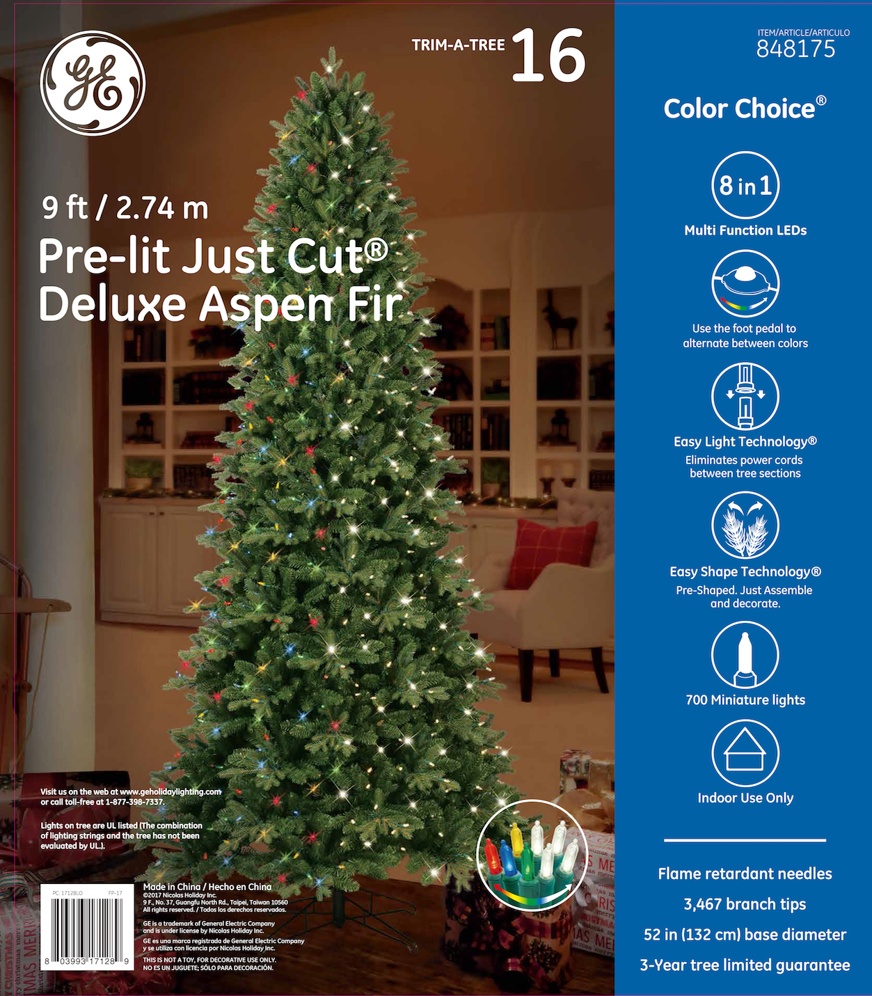 17128 - GE Just Cut® Deluxe Aspen Fir, 9 ft., Color Choice® LED, 700ct 7mm Lights, Warm White ...