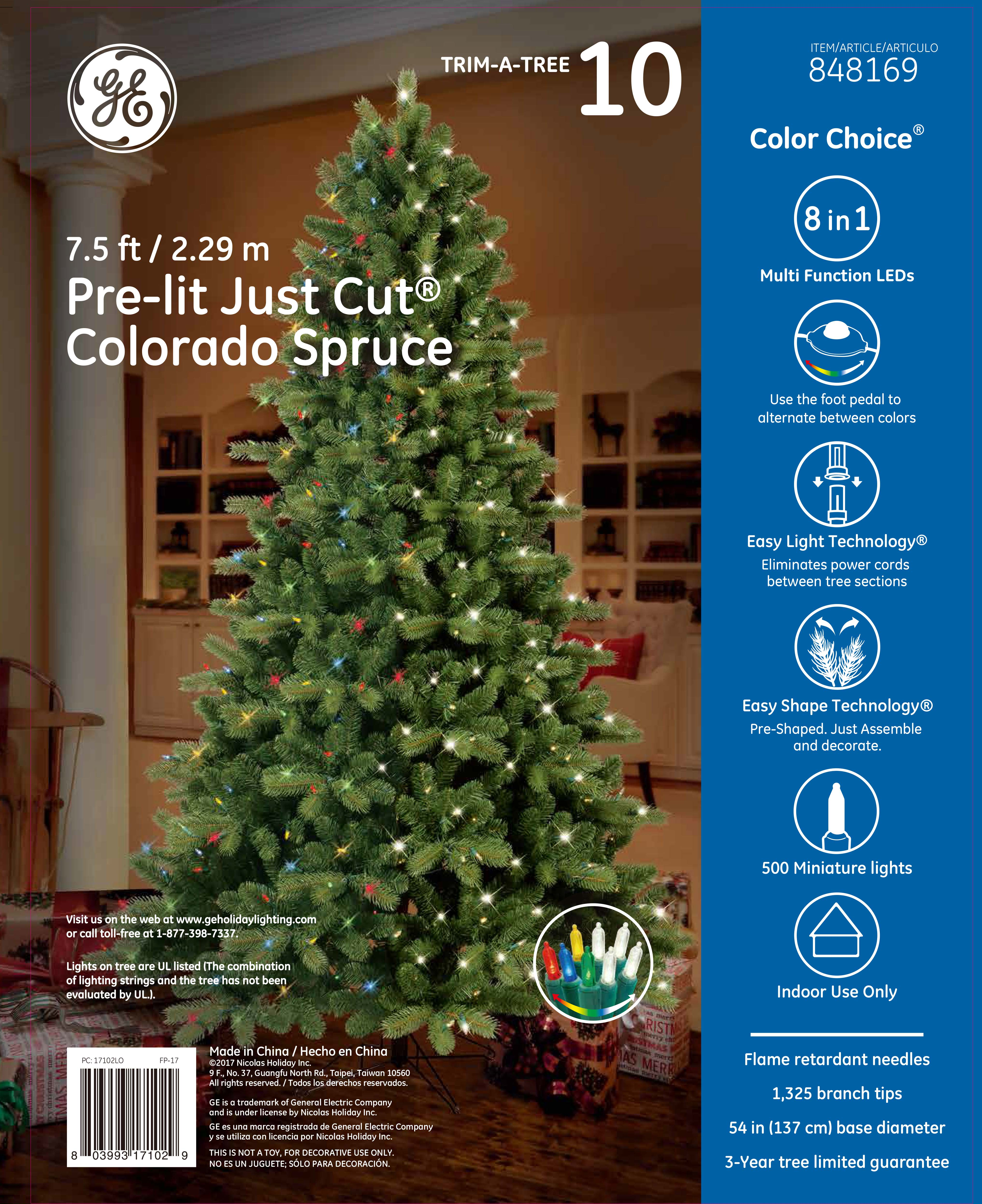 17102 - GE Just Cut® Colorado Spruce, 7.5 ft., Color Choice® LED ...