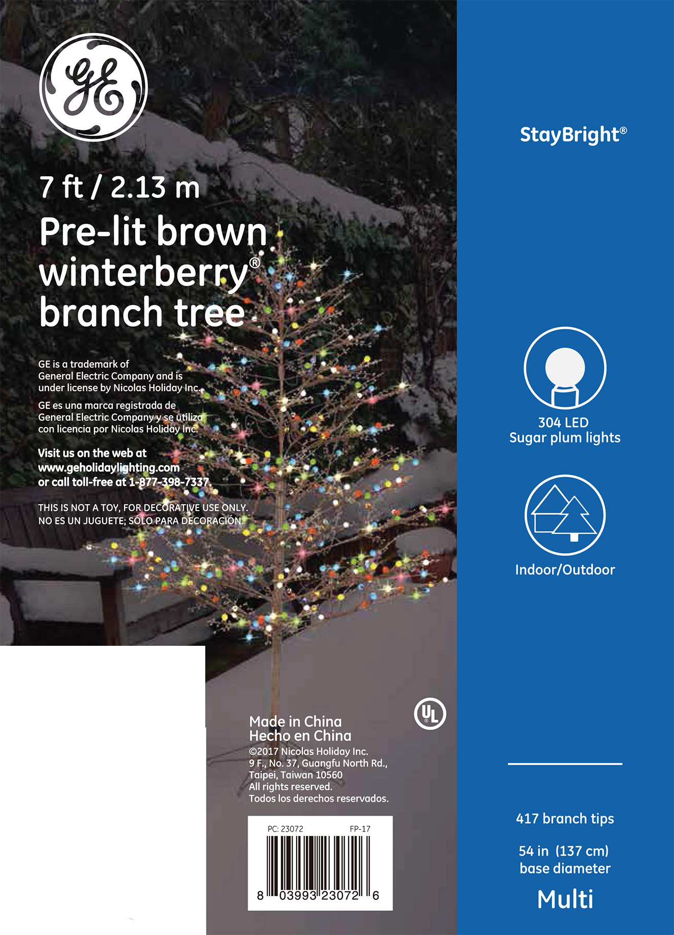 23072 Ge Brown Winterberry 174 Branch Tree 7 Ft