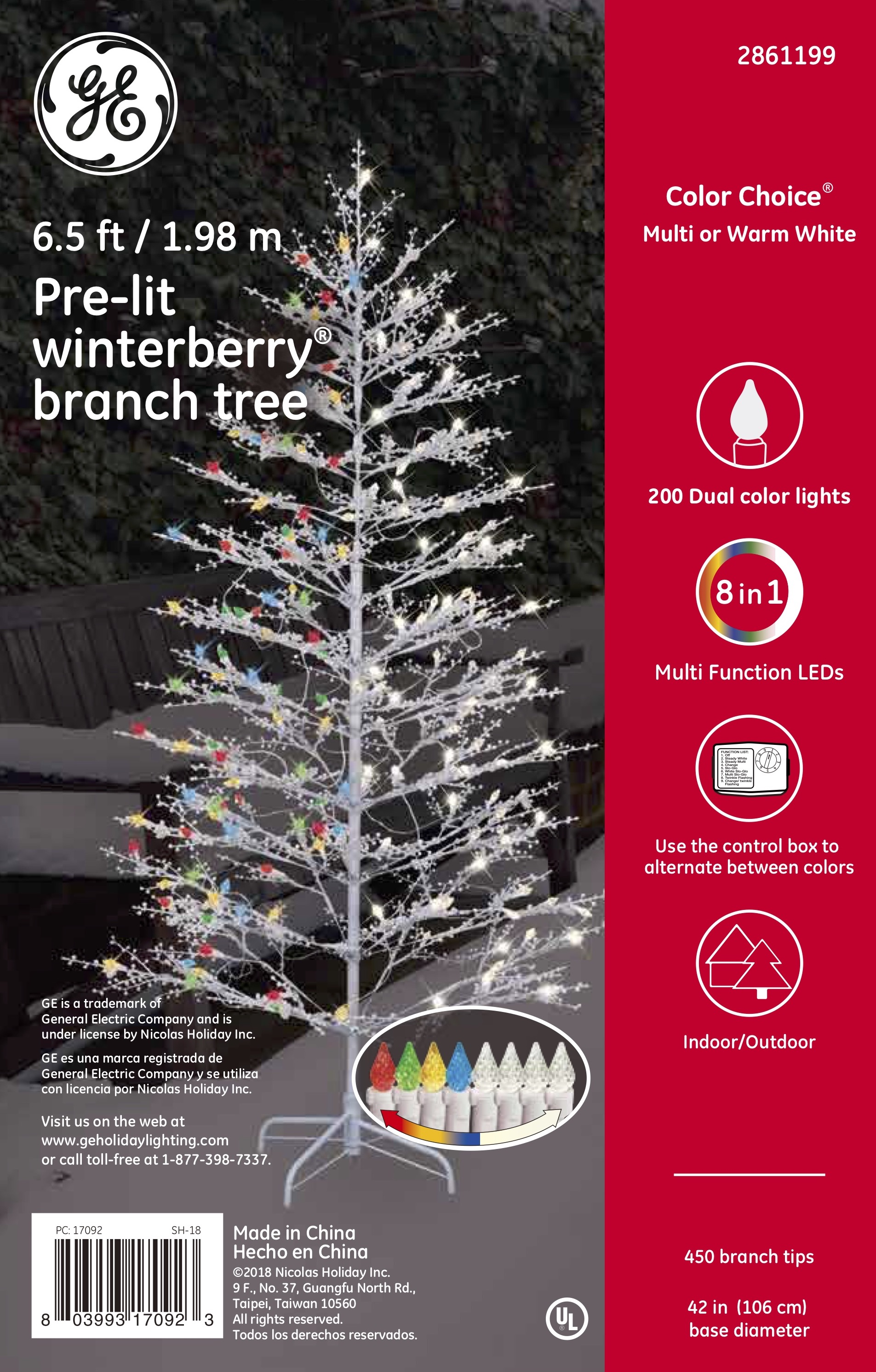 Ge Christmas Tree Lights.17092 Ge Winterberry Branch Tree 6 5 Ft Color Choice