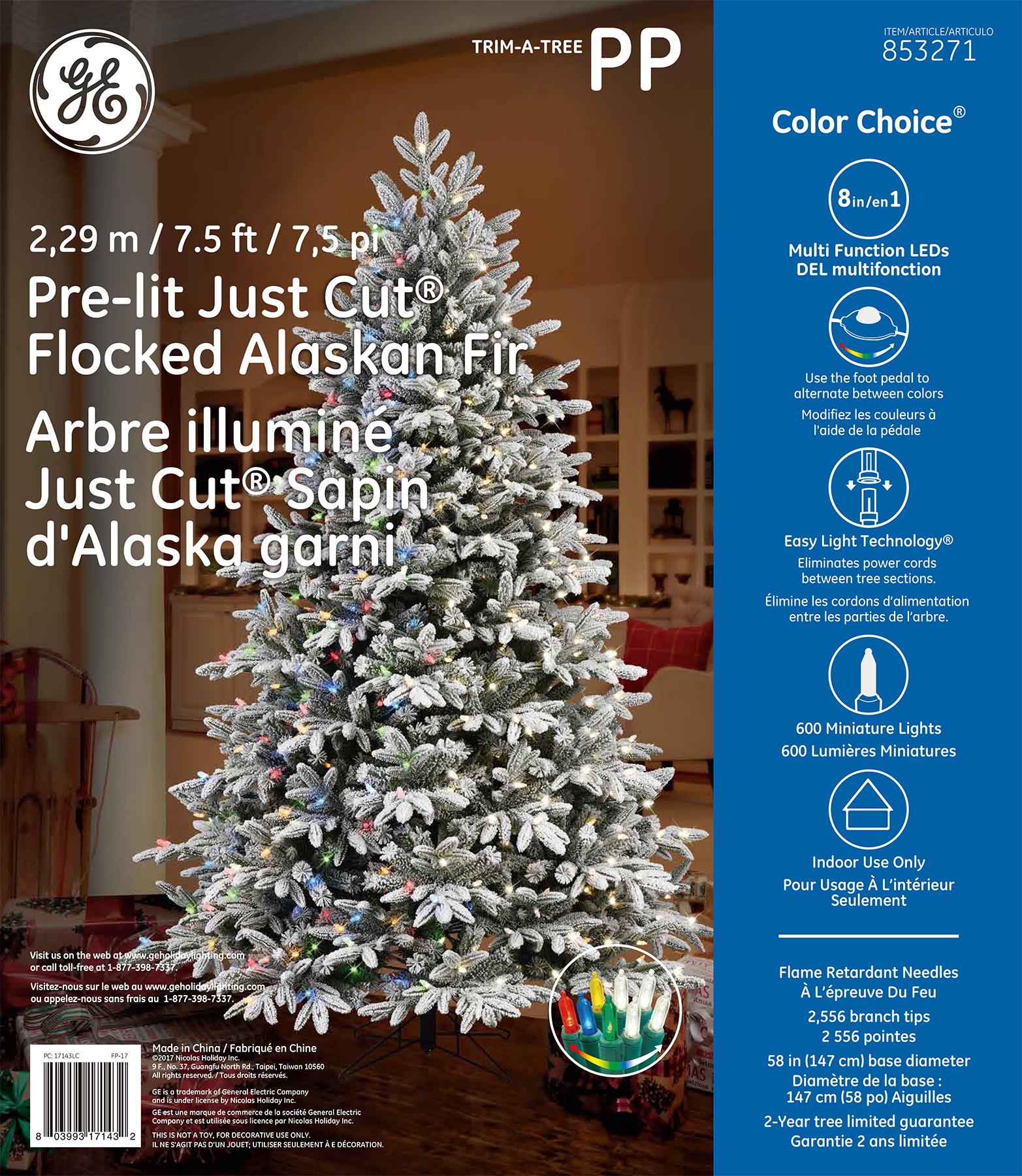 17143 - GE Just Cut® Flocked Alaskan Fir, 7.5 ft., Color Choice® LED, 600ct 7mm Lights, Warm ...
