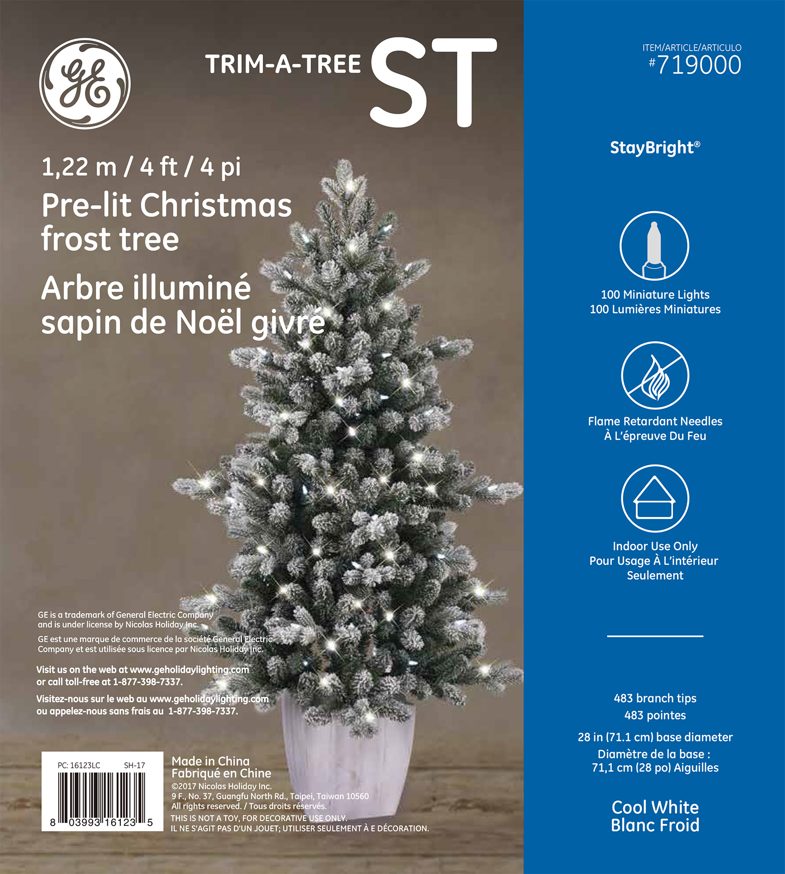 16123 ge christmas frost tree 4 ft staybright led 100ct 55mm lights cool white