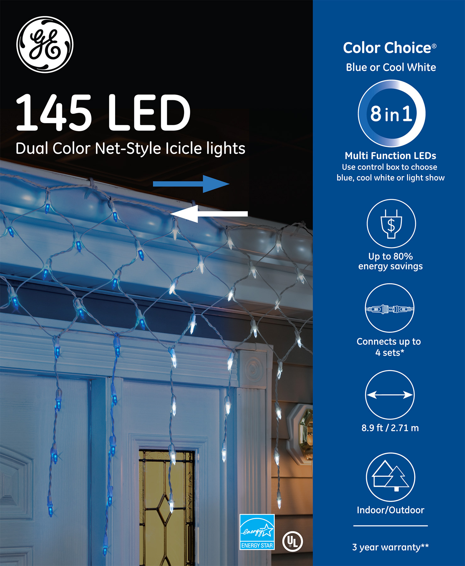 89130 Ge Color Choice Led Net Style Icicle Lights 145ct Blue Cool White