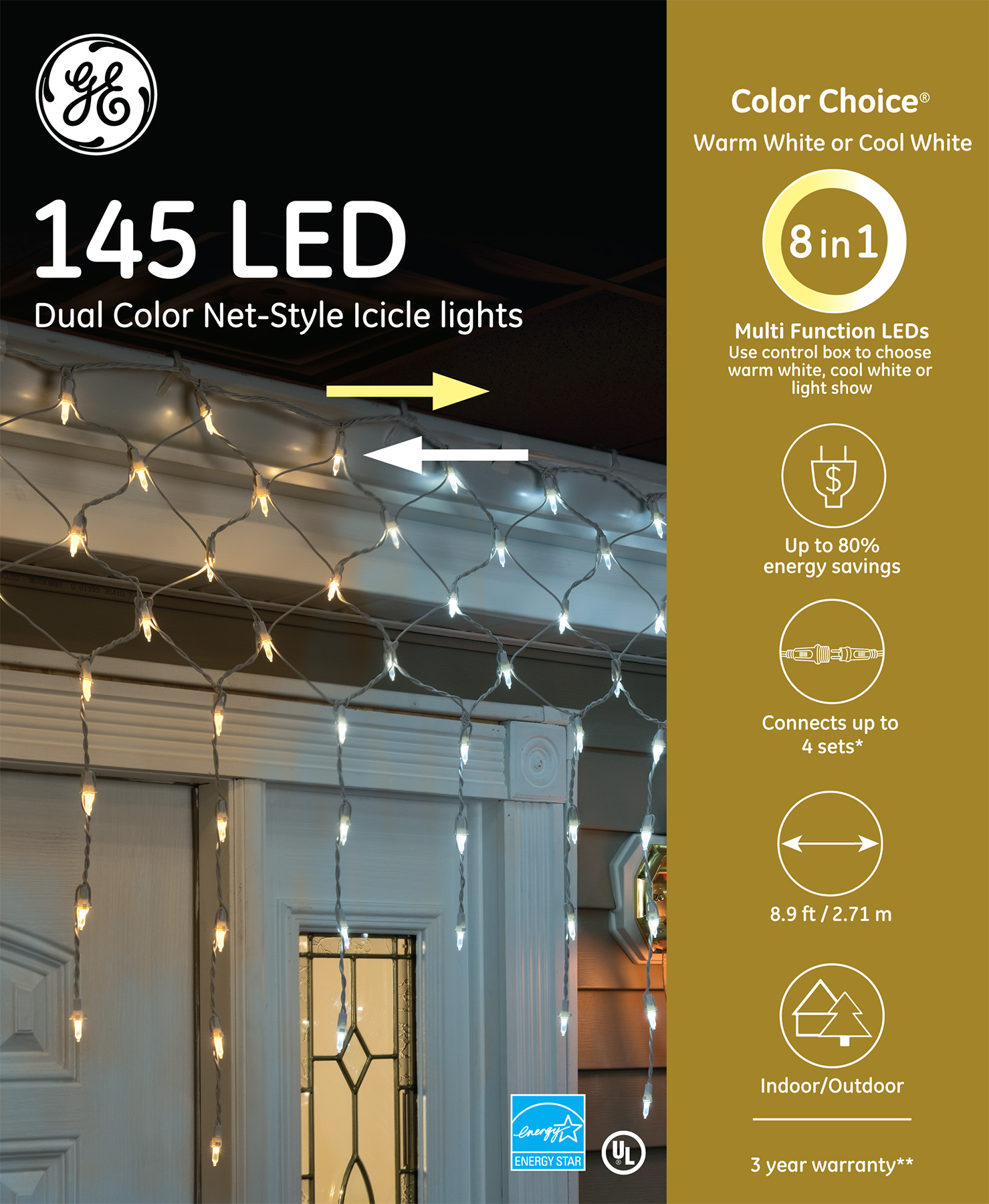 89230 Ge Color Choice 174 Led Net Style Icicle Lights