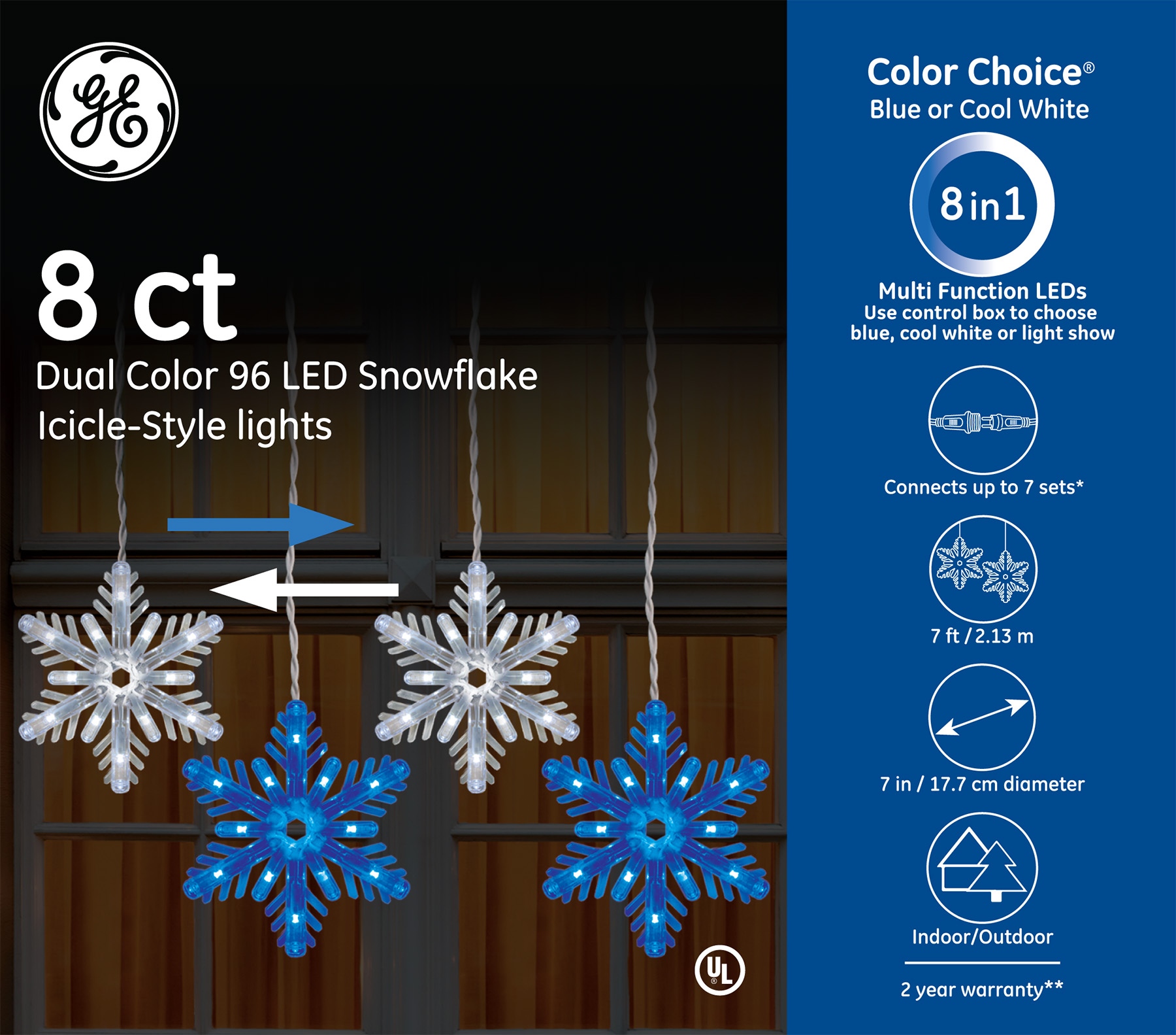 89150 Ge Color Choice 174 Led Snowflake Icicle Style Lights