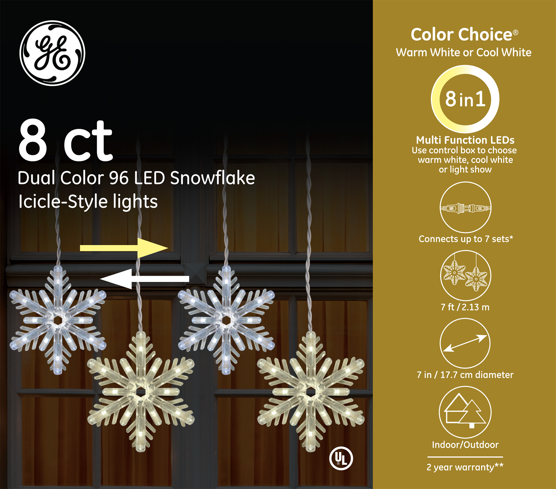 89250 Ge Color Choice 174 Led Snowflake Icicle Style Lights