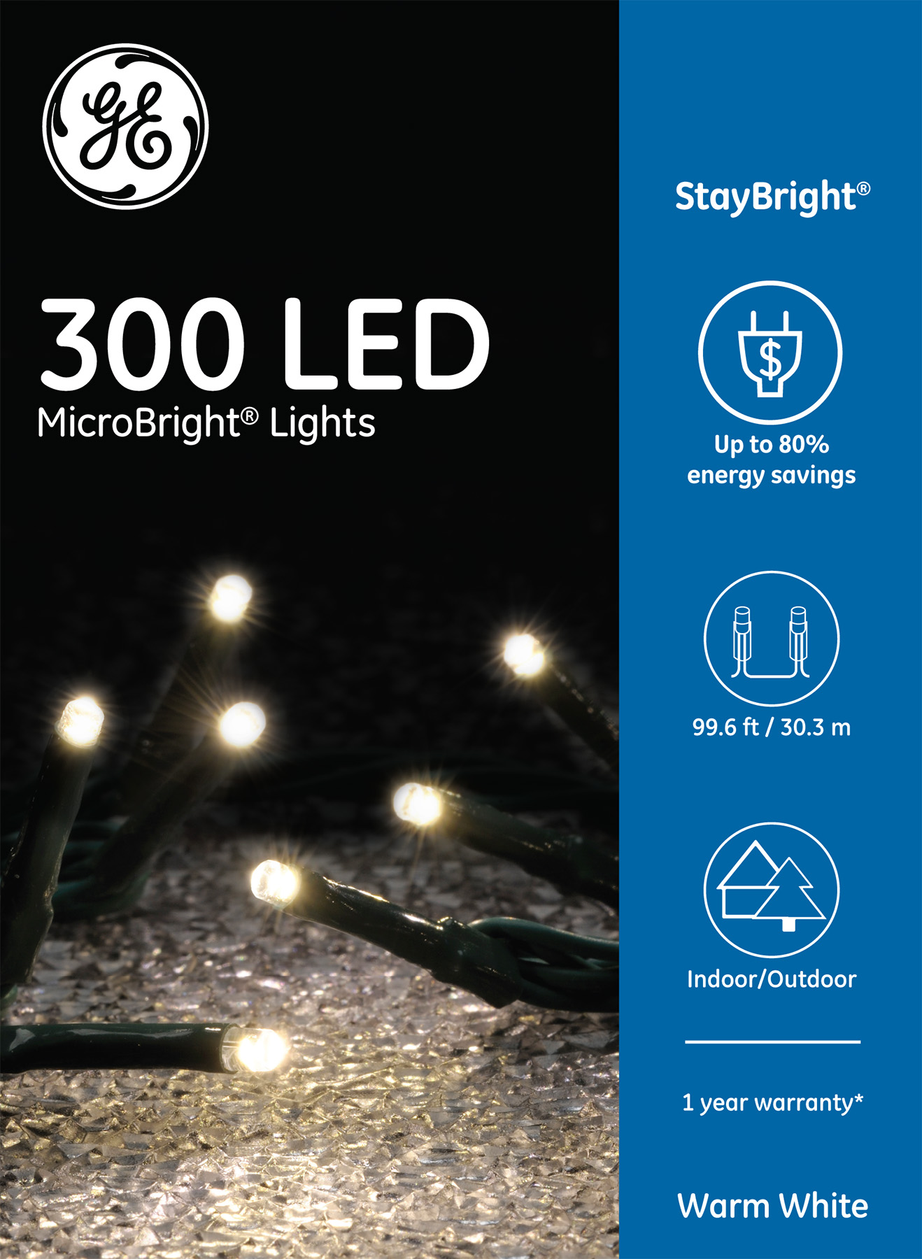 93056 Ge Staybright Led Microbright Lights 300ct Warm