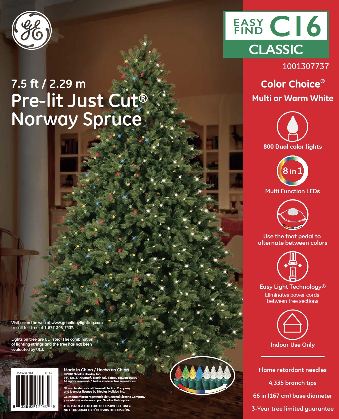 Ge Christmas Tree Lights.17167 Ge Just Cut Deluxe Norway Spruce 7 5 Ft Color