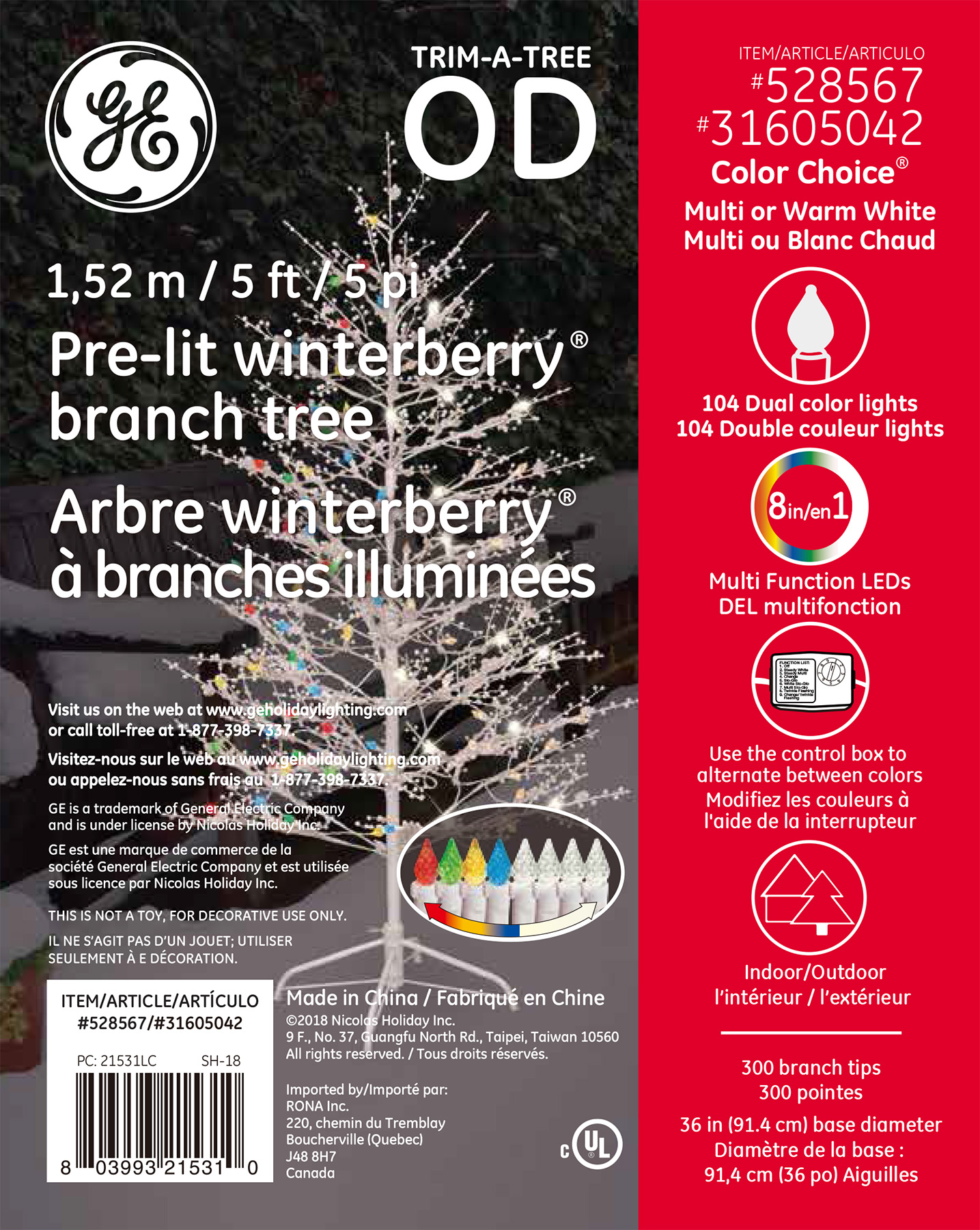 21531 Ge Winterberry 174 Branch Tree 5 Ft Color Choice