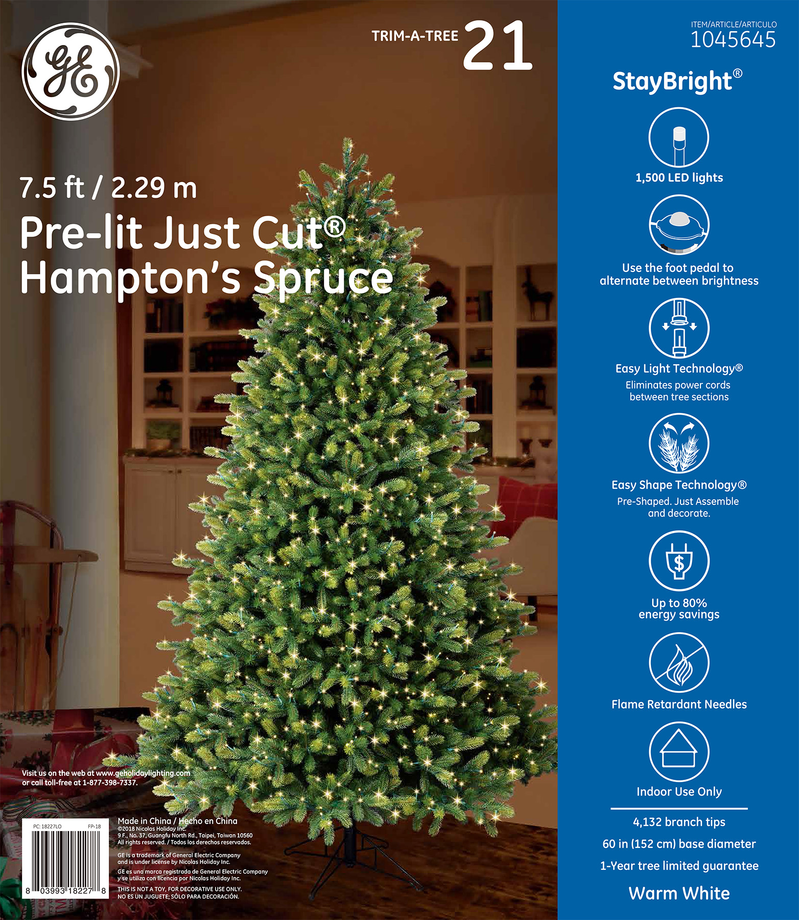 18227 - GE Just Cut® Hampton's Spruce, 7.5 ft., StayBright® LED ...