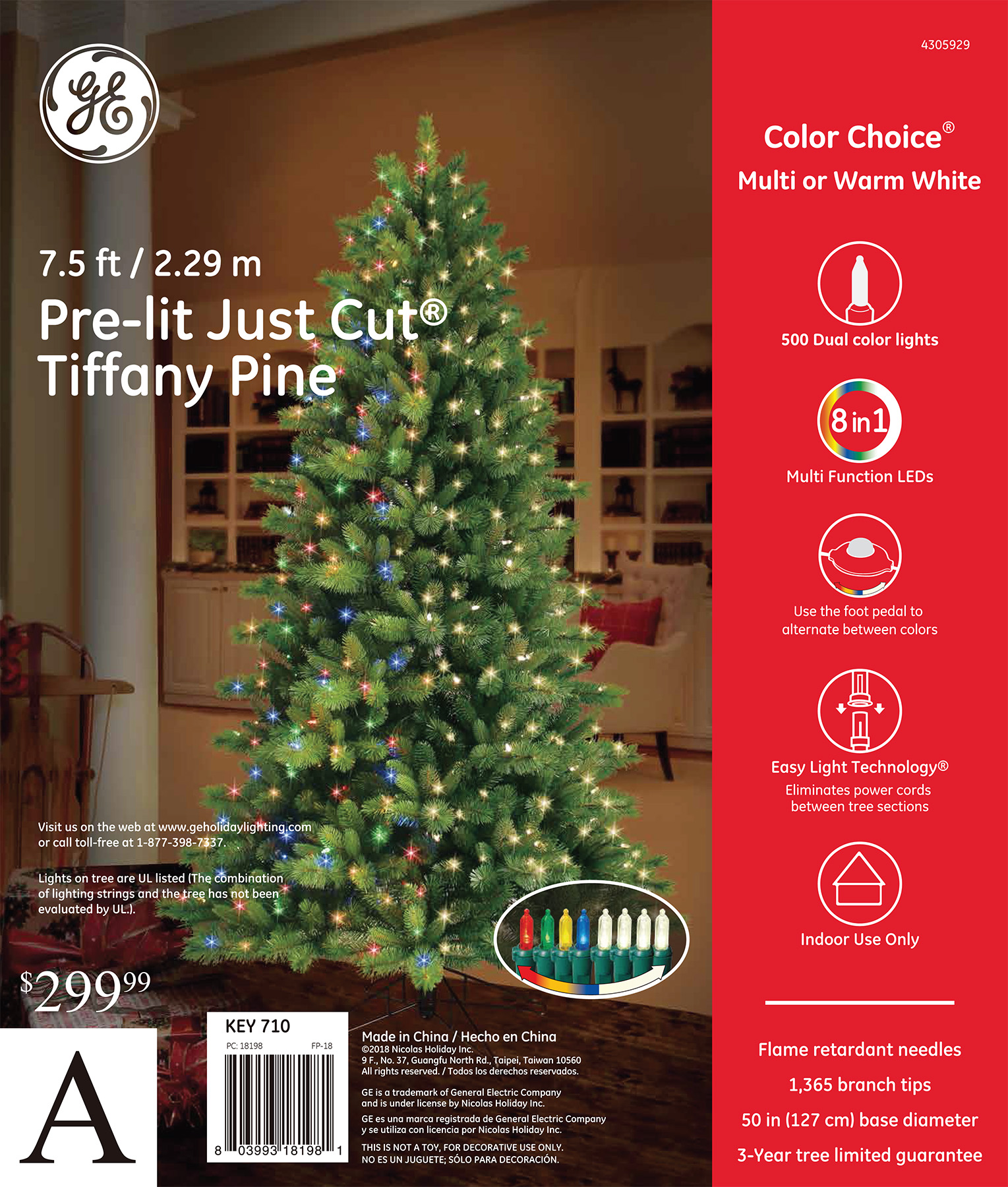 18198 - GE Just Cut® Tiffany Pine, 7.5 ft., Color Choice® LED, 500ct ...