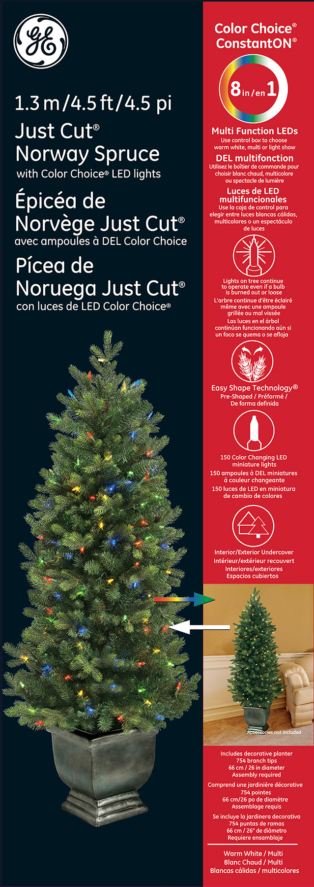 00123 - GE Just Cut® Norway Spruce, 4.5 ft., Color Choice® LED, 150ct 7mm Lights, Multi/Warm ...