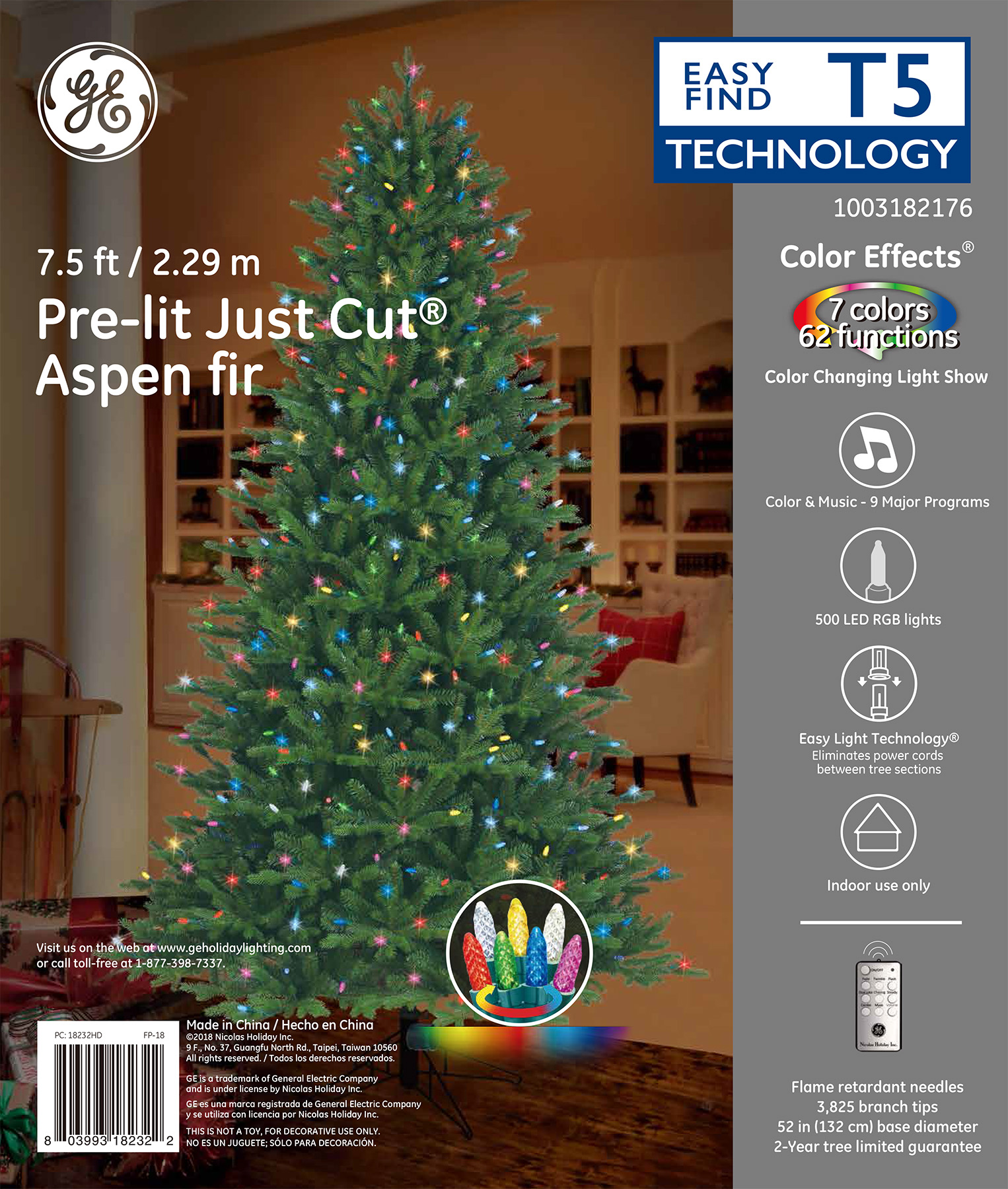 18232 - GE Just Cut® Aspen Fir, 7.5 ft., Color Effects® LED, 500ct ...