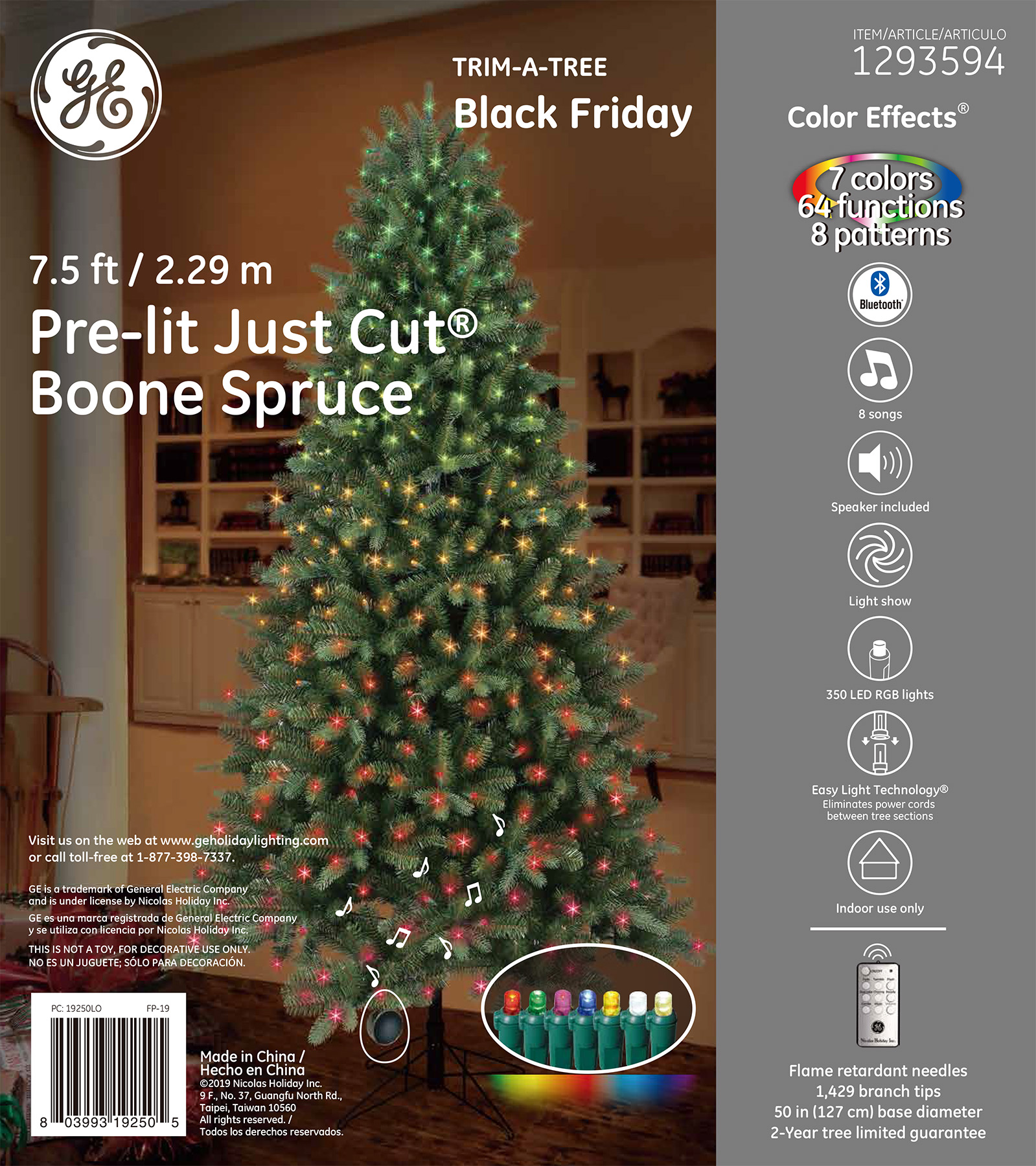 19250 - GE Just Cut® Boone Spruce, 7.5 ft., Color Effects® LED, 350ct Micro Lights, RGB – GE ...