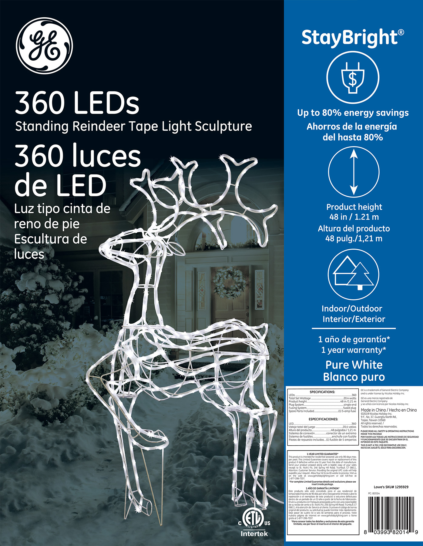 82014 Ge Staybright 174 Led Standing Reindeer Tape Light
