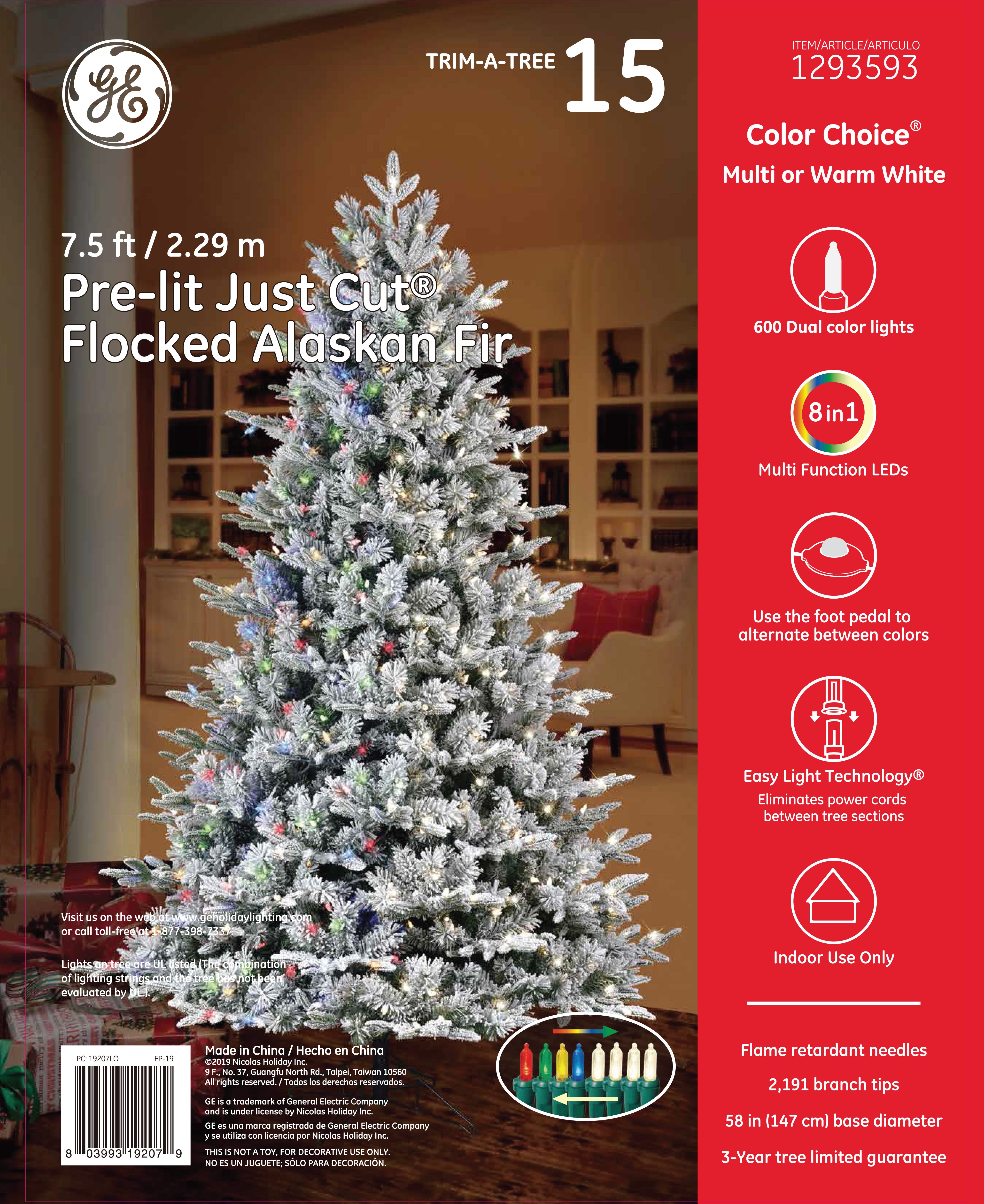 19207 Ge Just Cut Flocked Alaskan Fir 7 5 Ft Color Choice Led 600ct 7mm Lights Multi Warm White Holiday Lighting Support