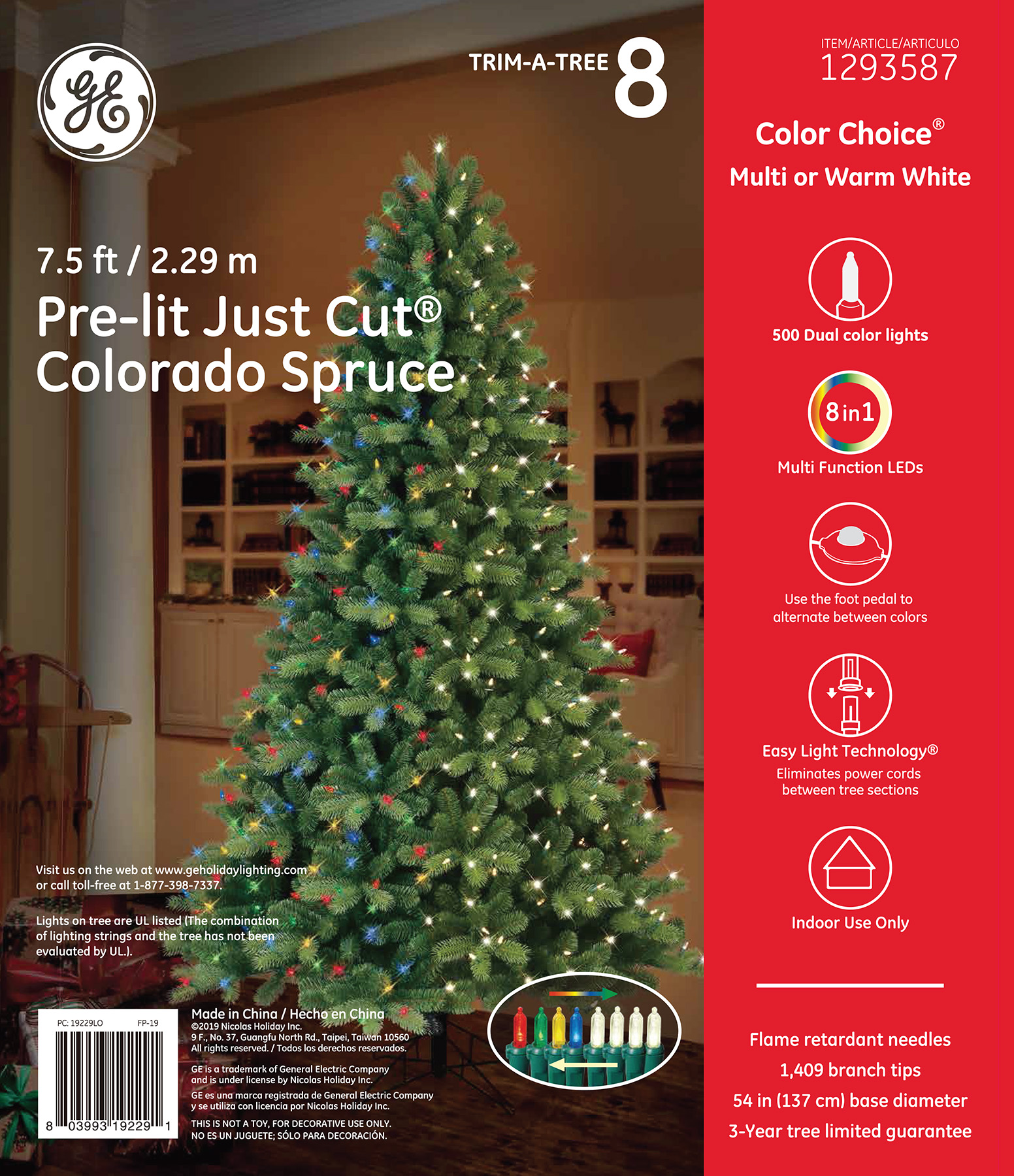 19229 - GE Just Cut® Colorado Spruce, 7.5 ft., Color Choice® LED, 500ct 7mm Lights, Multi/Warm ...