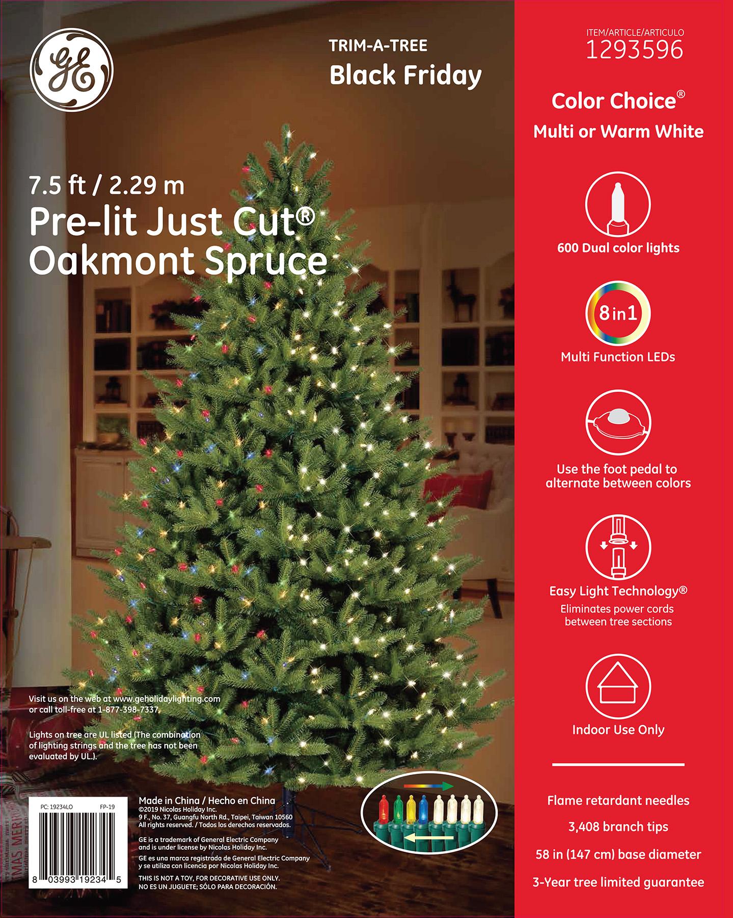 19234 - GE Just Cut® Oakmont Spruce, 7.5 ft., Color Choice® LED, 600ct 7mm Lights, Multi/Warm ...