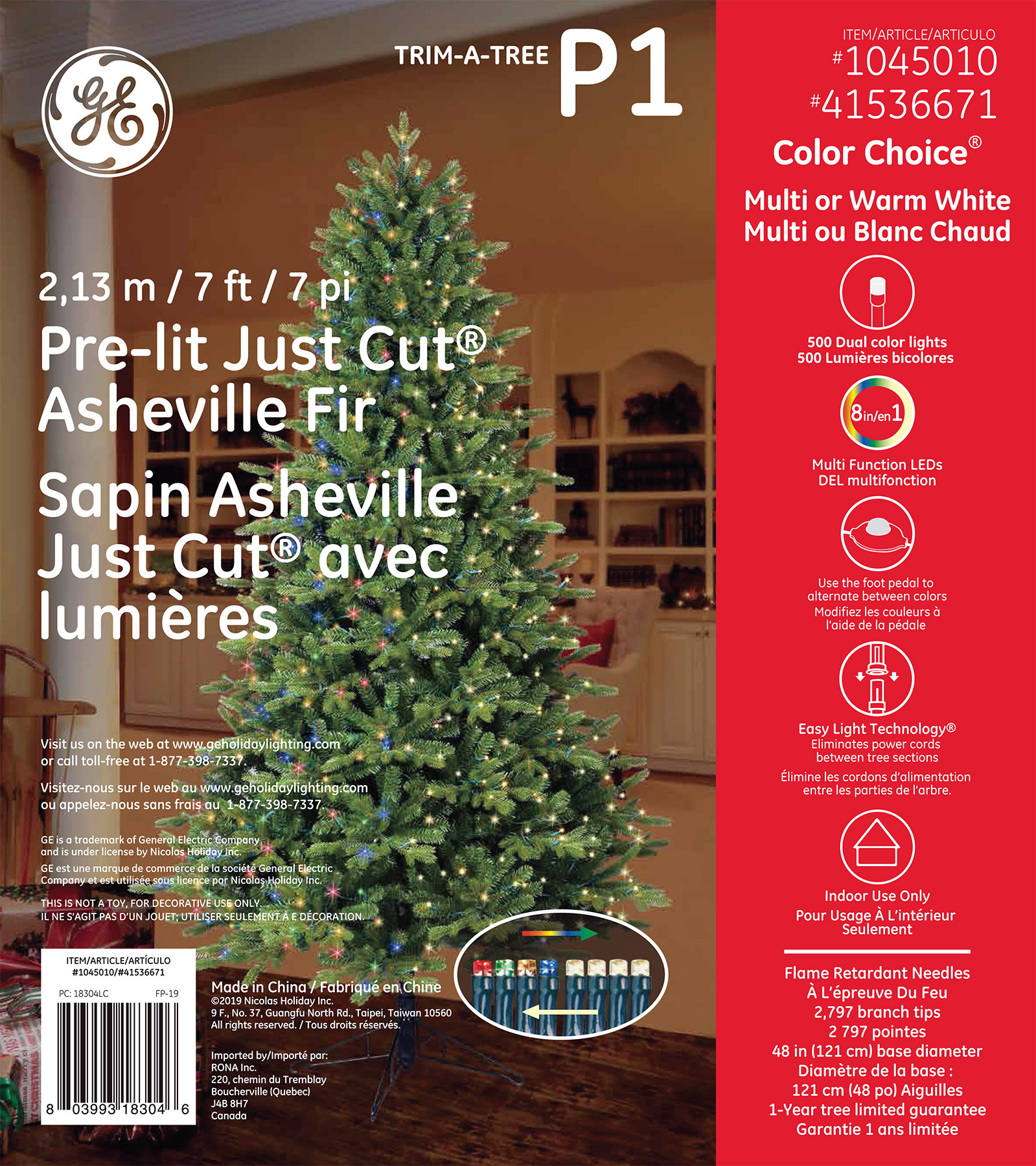 18304 - GE Just Cut® Asheville Fir, 7 ft., Color Choice® LED, 500ct MicroBright Lights, Multi ...