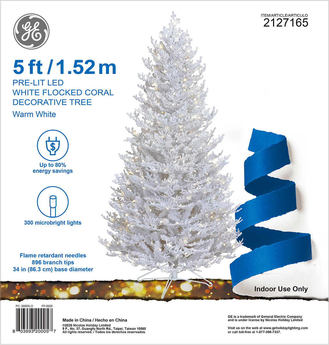 20005 - GE White Flocked Coral Decorative Tree, 5 ft., StayBright® LED, 300ct MicroBright Lights ...